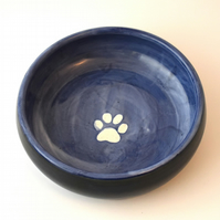 19-261 Hand thrown pawprint bowl in blue (Free UK postage)