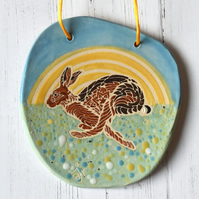 19-370 Ceramic plaque with running hare picture (Free UK postage)