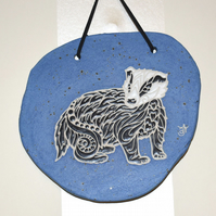 19-375 Ceramic plaque with badger picture (Free UK postage)