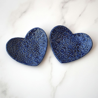 Pair of small heart shaped textured trinket dishes