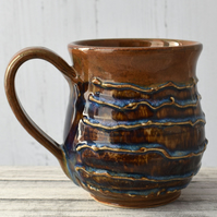 18-15 Brown and Blue Ceramic Stoneware Mug (UK postage included)