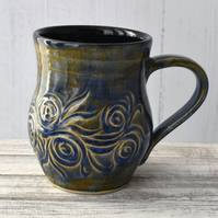18-55 Brown and Blue Ceramic Stoneware Mug (UK postage included)