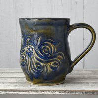 18-56 Brown and Blue Ceramic Stoneware Mug (UK postage included)
