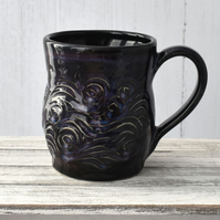 18-58 Black Carved Ceramic Stoneware Mug (UK postage included)