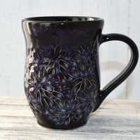 18-59 Black Carved Ceramic Stoneware Mug (UK postage included)