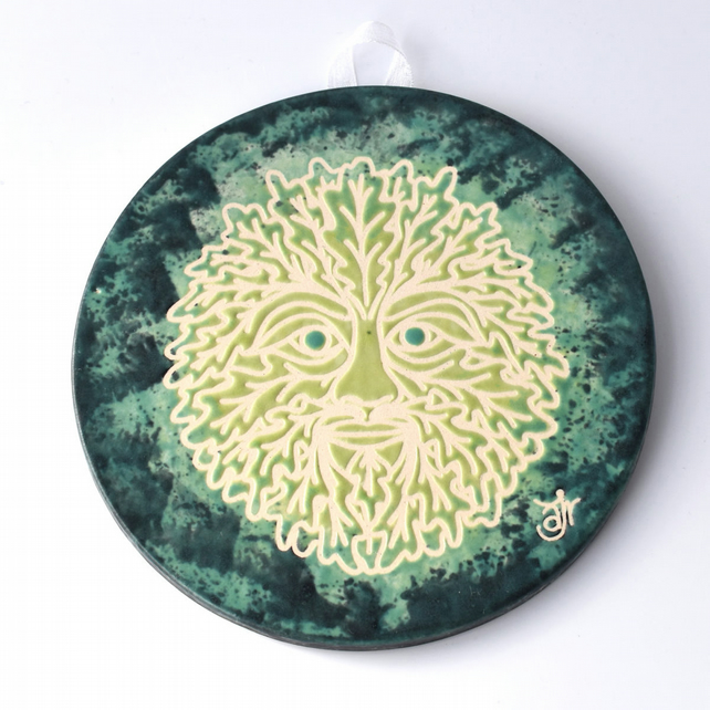 A54 Wall plaque coaster green man (Free UK postage)