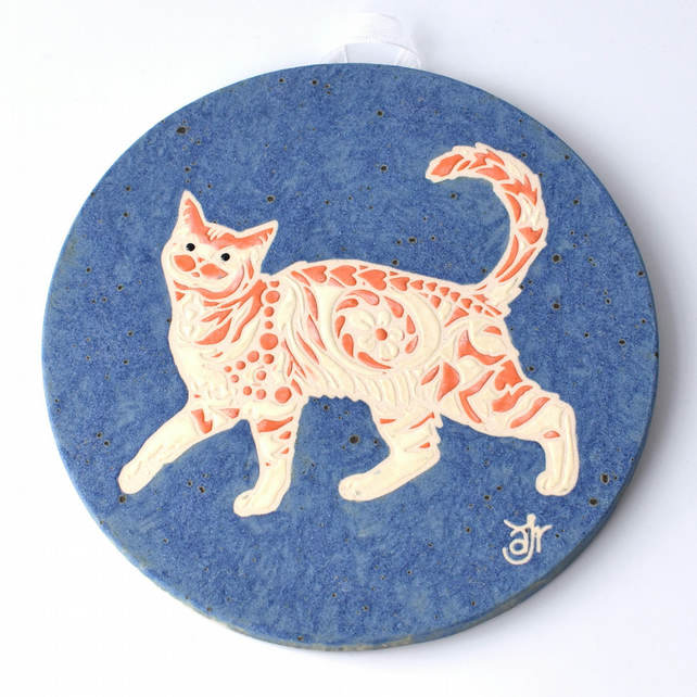 A57 Wall plaque coaster ginger cat (Free UK postage)