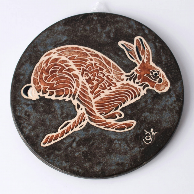 A64 Wall plaque coaster running hare (Free UK postage)