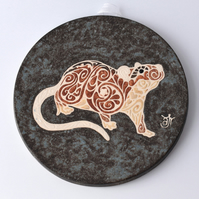 A58 Wall plaque coaster agouti rat (Free UK postage)