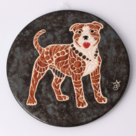 A69 Wall plaque coaster Staffordshire bull terrier (Free UK postage)