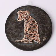 A70 Wall plaque coaster whippet (Free UK postage)