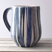 19-329 Stoneware pottery hand thrown stripey mug (Free UK postage)