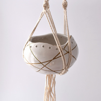 19-390-1 Hand thrown hanging planter
