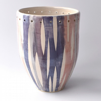 A33 Stoneware pottery hand thrown stripey vase  (Free UK postage)