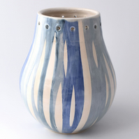 A32 Stoneware pottery hand thrown stripey vase  (Free UK postage)