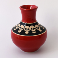A92 Skulls vase in black and scarlet (Free UK postage)
