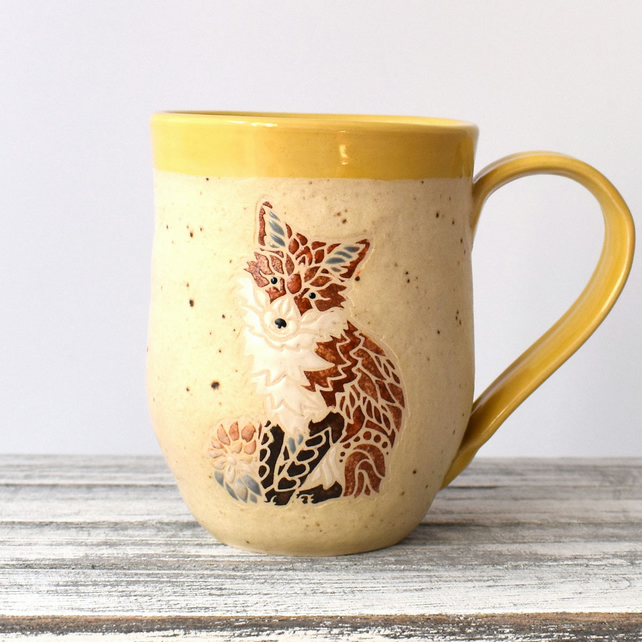 A74 Sitting Fox Handmade Ceramic Stoneware Mug (UK postage included)