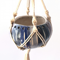 19-368 Hand thrown hanging planter