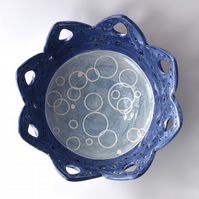 A01 Blue bubbles bowl  (Free UK postage)