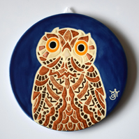 A85 Wall plaque coaster owl (Free UK postage)