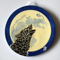 A87 Wall plaque coaster black wolf against the moon (Free UK postage)