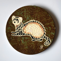 A88 Wall plaque coaster ferret (Free UK postage)