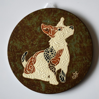 A90 Wall plaque coaster jack russell terrier (Free UK postage)