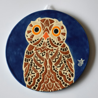 A113 Wall plaque coaster owl (Free UK postage)