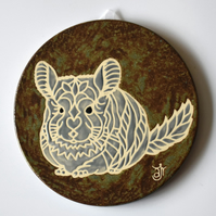 A128 Wall plaque coaster chinchilla (Free UK postage)