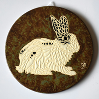 A132 Wall plaque coaster rabbit (Free UK postage)