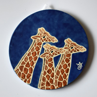 A134 Wall plaque coaster giraffes (Free UK postage)
