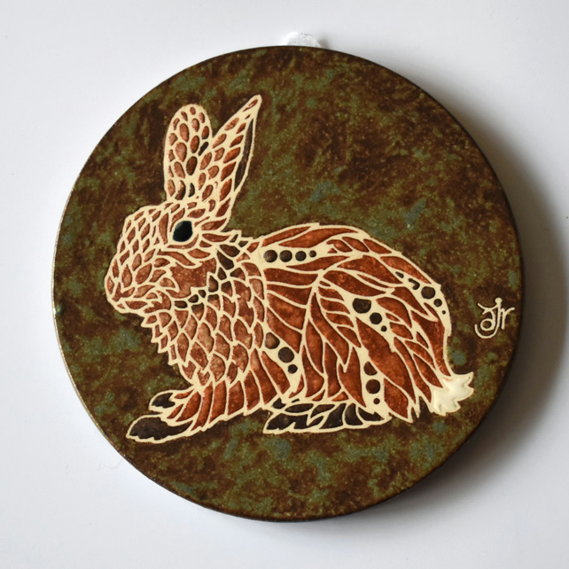 A119 Wall plaque coaster rabbit (Free UK postage)