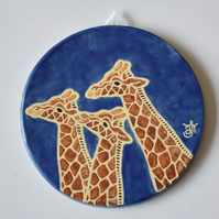 A120 Wall plaque coaster giraffes (Free UK postage)