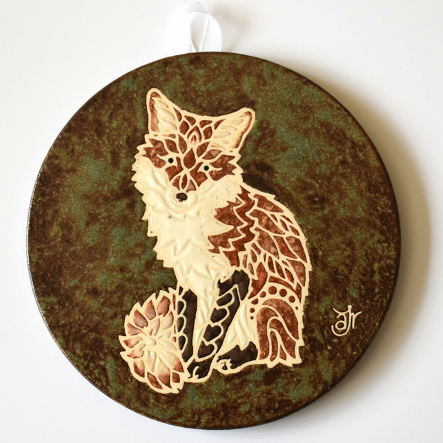 A122 Wall plaque coaster fox (Free UK postage)
