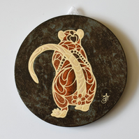 A154 Wall plaque coaster agouti rat (Free UK postage)