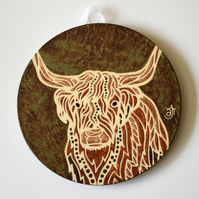 A161 Wall plaque coaster highland cow (Free UK postage)
