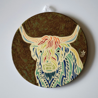 A156 Wall plaque coaster highland cow (Free UK postage)