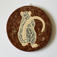 A159 Wall plaque coaster blue rat (Free UK postage)