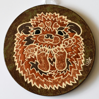 A144 Wall plaque coaster baby hedgehog (Free UK postage)