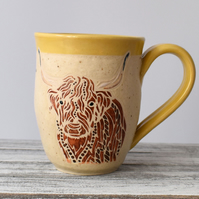 A76 Highland Cow Handmade Ceramic Stoneware Mug (UK postage included)