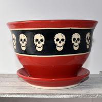 A93 Skulls plant pot in black and scarlet (Free UK postage)