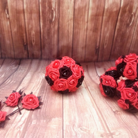 Gothic Wedding Bouquet Package, Wedding flowers black and red, Custom orders