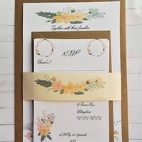 Simple floral Wedding invitations, Sample pack