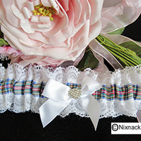 WHITE GARTER WITH DRESS STEWART    TARTAN