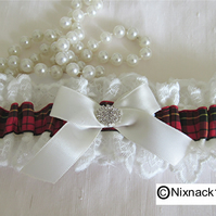 IVORY WEDDING GARTER,   WALLACE  TARTAN