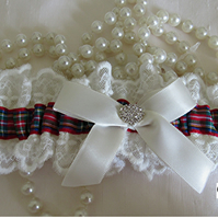IVORY WEDDING GARTER,  ROYAL STEWART TARTAN