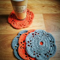 Crochet coasters doilies - set of 4 orange, grey colour