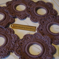 Set of 6 crochet napkin rings, holders