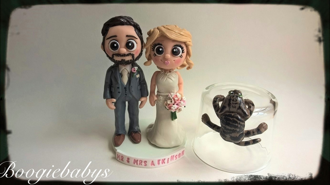 Personalised Custom Clay Wedding Cake Toppers Bride & Groom Gay Wedding