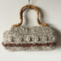 Wooden handled knitted bag